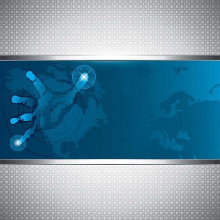 Una mano sobre una tecnología de futuro de alta tecnología screen.A Ilustración de vector