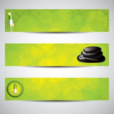 green banner: Herbal pill and spa banners.Environment elements