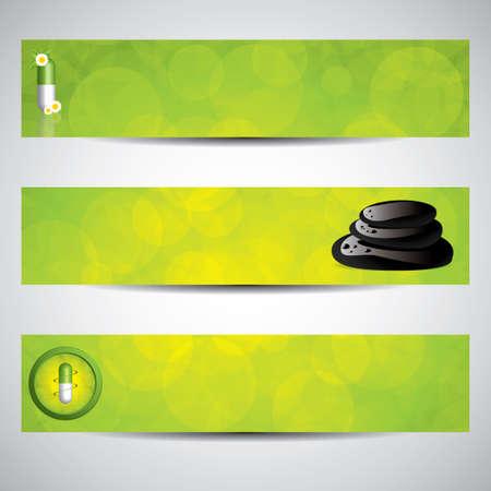 quimica verde: P�ldora a base de hierbas y elementos de spa banners.Environment