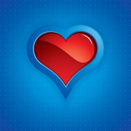 Heart button on blue background.Vector Stock Vector - 11974108