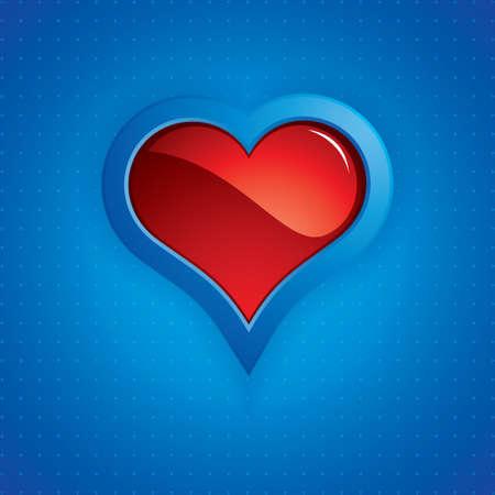 Heart button on blue background.Vector Stock Vector - 11974108