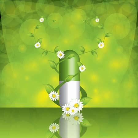 herbals: Green alternative medication concept - pill caduceus style