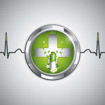 Green alternatieve medicatie concept - Natuurlijke kruiden-pil Vector Illustratie