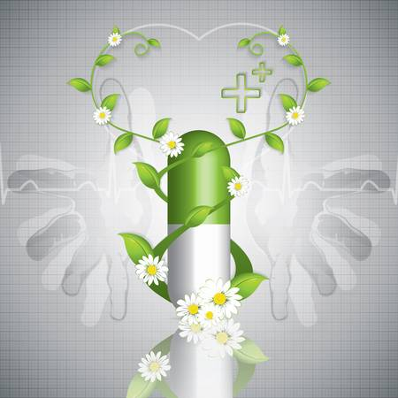 Help natural herbal pills - Green alternative medication concept Vector
