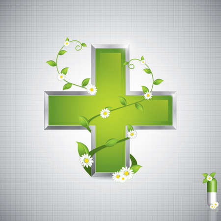Alternative medication concept - medical cross caduceus style