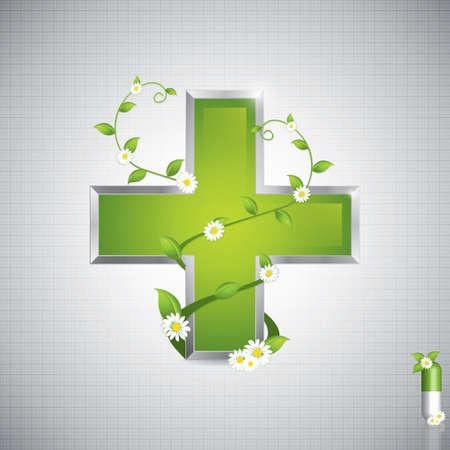 Concepto de medicina alternativa - la cruz del estilo médico del caduceo Ilustración de vector