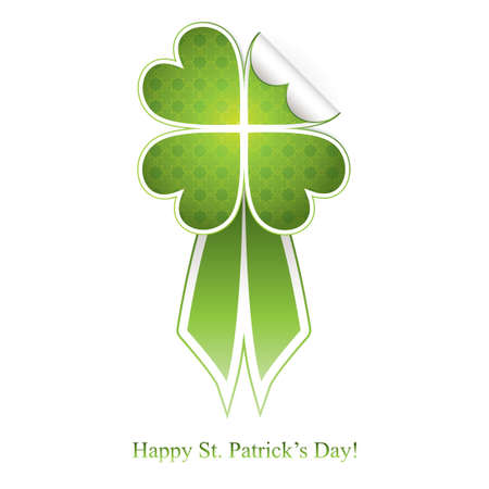 Green badge with clover and ribbon to St. Patrick Stock Vector - 12185031