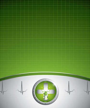 hjärtslag: Gröna alternativ medicinering begrepp - Medicinsk bakgrund Illustration