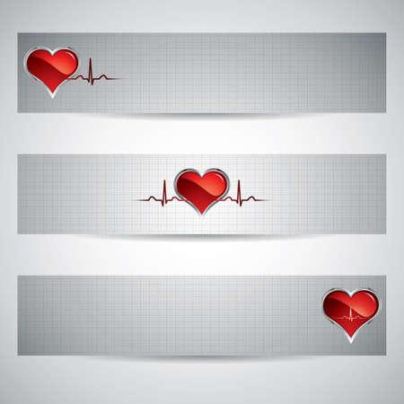 ecg heart: Medical banners