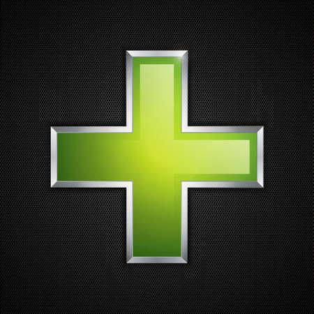 Cruz Verde y la textura limpia icono de un polígono Ilustración de vector