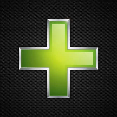 plus symbol: Green cross clean icon and polygon texture Illustration