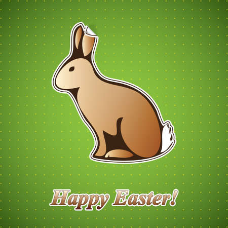 rabbit hole: Vector paper rabbit sticker Illustration