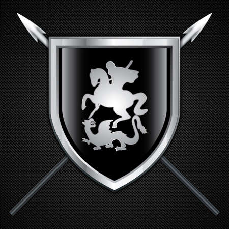 ナイト: 聖ジョージとドラゴン盾と槍の記号