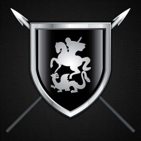 rycerz: Saint George and the Dragon Shield i znak włócznia