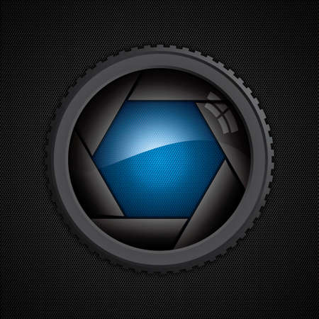Illustration of camera shutter on polygon texture Vector