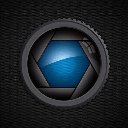 diaframma: Illustrazione di scatto della fotocamera sulla trama poligono
