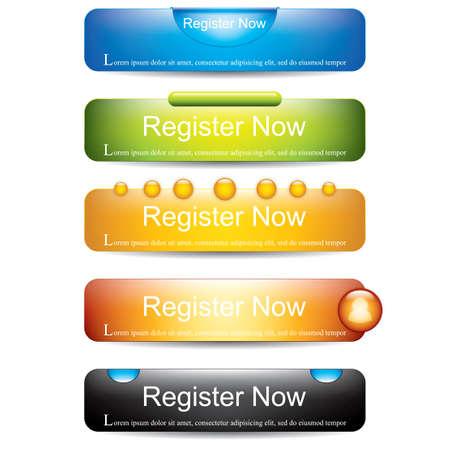 Jetzt registrieren button collection Illustration