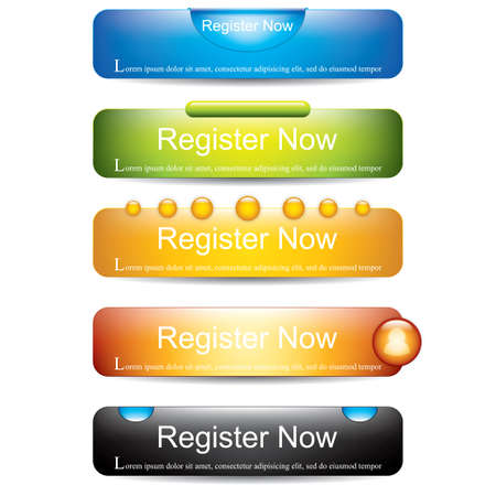Register now button collection Illustration