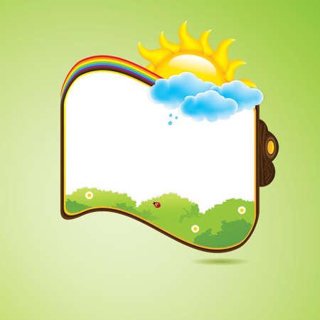 cartoon frame: Kid scrapbook con sole e fiori Vettoriali