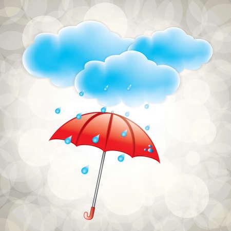 구름과 비가 오는 날씨 아이콘 일러스트