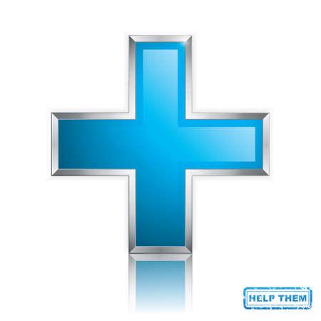 Croix bleue symbole propre isolé sur blanc