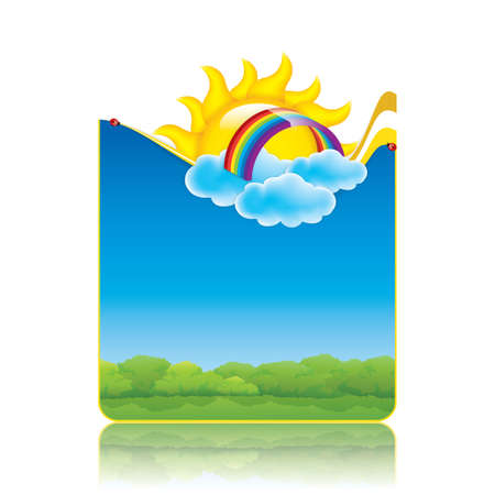 children of heaven: Spring frame with sun and clouds