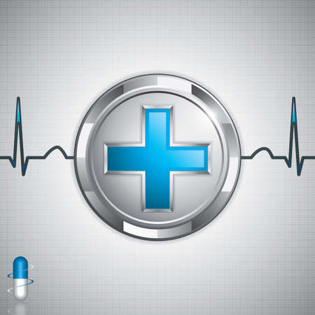 Blue cross alternative medication concept - Natural herbal pill Vector