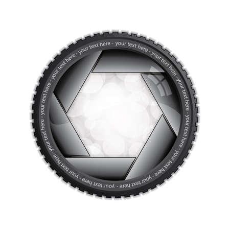 Illustration der Verschluss der Kamera isoliert auf weiß