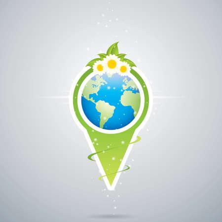 Arrow style pointer Green earth vector Vector