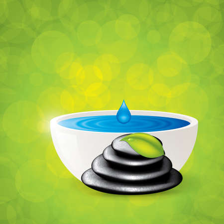 Background with spa stones and ceramic bowl Vector Vector