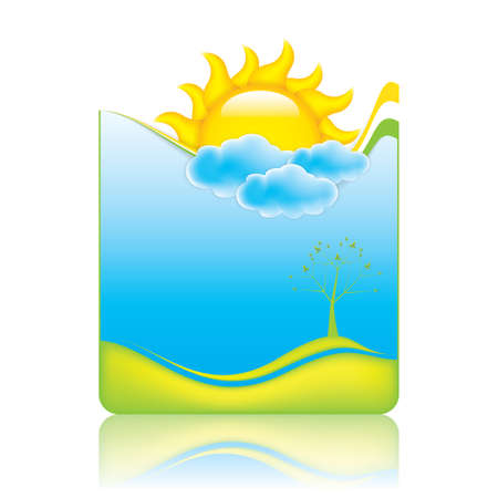 album background: Spring frame with sun and clouds