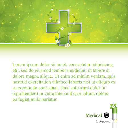 green cross: Alternative medication concept - medical cross caduceus style