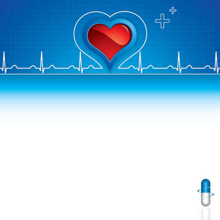 Blue pills, heartbeat on blue medical background Vector