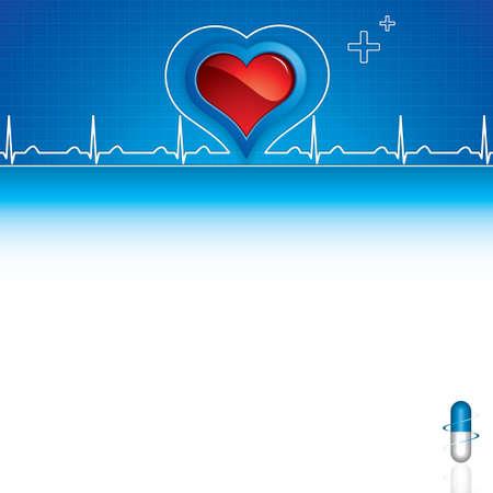 blue pills: Blue pills, heartbeat on blue medical background