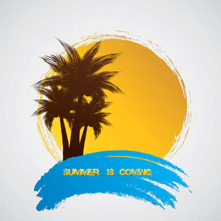 Palm trees on a grunge background Vector