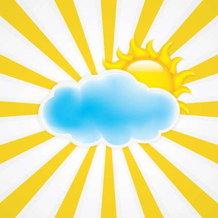 Sun with cloud Vector