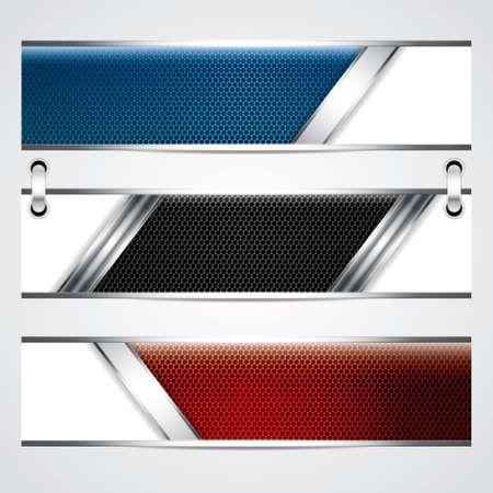 Banner, metallic-Set, modernes Design Hintergründe