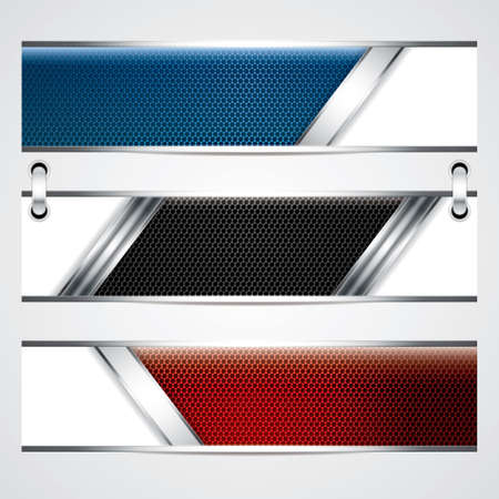 Banners, metallic set, modern backgrounds design Vector