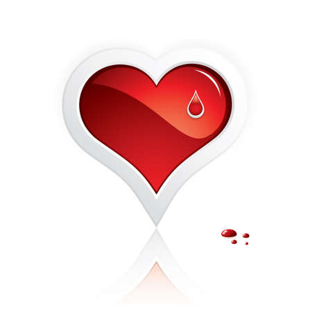 Heart and blood drop isolated on white background Medical Vector