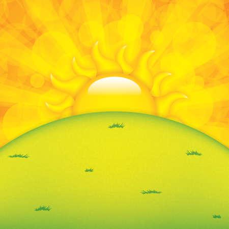 sunny day: Puesta del sol y el horizonte de Verano Vectores