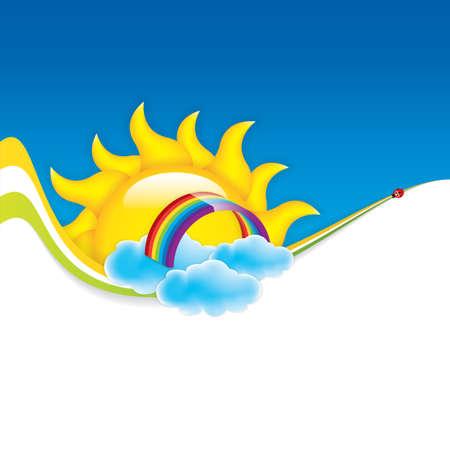 Frühlings-Rahmen mit Sonne und Wolken