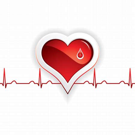 intentie: Hart en druppel bloed Medische Stock Illustratie