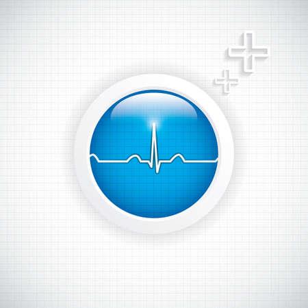 diagnosing: Blue diagnostics button Medical vector