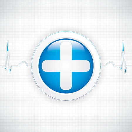 pulsation: Blue diagnostics button Medical vector