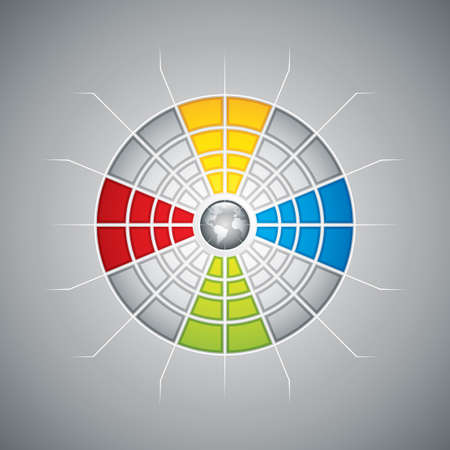 Segmented presentation template with four different colored segments vector Vector