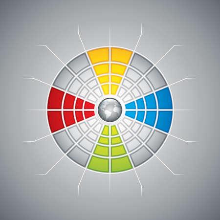 representational: Segmented presentation template with four different colored segments vector