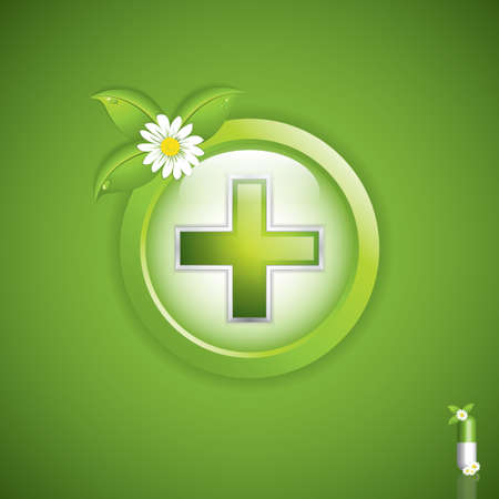 herbal medicine: Alternative medication concept - medical cross  Illustration