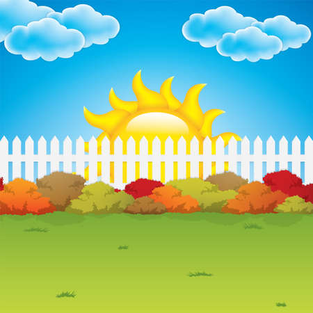 Autumn garden with bushes and fence Vector Vector