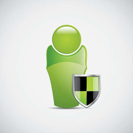 Green figure with shield icon Protection sign  Vector