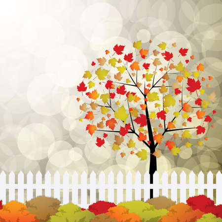 Autumn garden with bushes and fence Vector